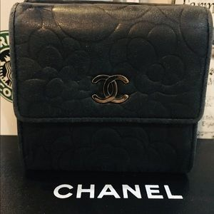 CHANEL- CC trifold Camelia Embossed Wallet